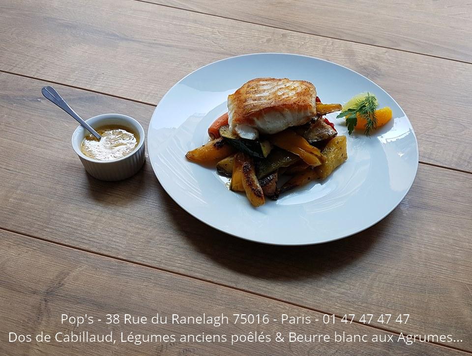 Dos de cabillaud du restaurant Pop's - Paris